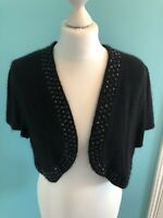 Ladies Black Angora Embellished Trim Shrug, Short Sleeved Pepperberry Size 18
