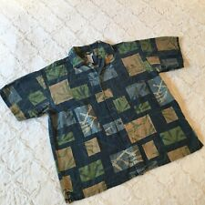 Half Moon Bay DISTRESSED Blue HAWAIIAN Bamboo Print Button Front SS Shirt SZ XL