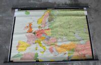 A1 Litho Landkarte auf Leinen + Holz Halter , Schulkarte - Europa - 177x115 /O