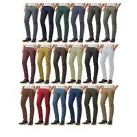 Mens Chinos Trousers Slim Fit Skinny Stretch Jeans Black White Designer Pants