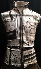 Italiano Couture Men's White Spiked Rocker Denim Vest XS-XL Biker Gothic Punk