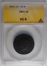 1821 1c ANACS VG8 Key Date Coronet Large Cent - Lowest Mintage for the Type