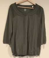 Sonoma Womens 3/4 Sleeve Scoopneck Blouse Top Slate Size Large