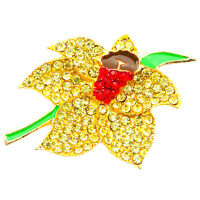 NEW GOLD DAFFODIL MODERN DIAMANTE CRYSTAL BROOCHES PINS BACKS BOUQUET FLOWER LOT