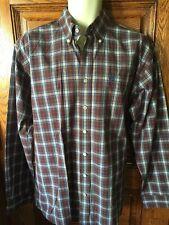 CINCH~Man's Button Down Shirt~Sz M~Long Sleeve 100% Cotton Burgundy/Blue Plaid