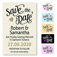 Wedding Save the Date Magnetic Cards Personalised Invitation Magnet and Envelope