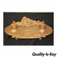 Antique French Art Nouveau Gilt Bronze Inkwell Signed A. Marionnet Depose