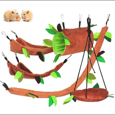 New listing Qbleev Hamster Hammock Hanging Bed,Small Animals Cage Toys Set with Swing Tube C