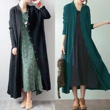 ZANZEA AU 8-24 Women Cotton Cardigan Thin Coat Maxi Jacket Blouse Plus Size Top