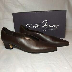 Sesto Meucci Black Leather Block Heel Pumps Women's US 6 N