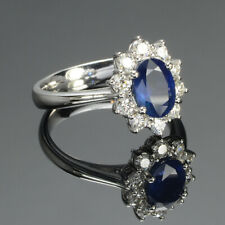Oval 2.00 Ct Natural Diamond Blue Sapphire 950 Platinum Women's Ring Size M N O