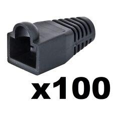 100 x NUOVO RJ45 Ethernet Rete Stivali connettori alle estremità in gomma Boot antigroviglio NERO