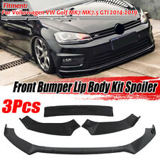 Front Bumper Lip Spoiler Splitter Glossy Black For VW Golf MK7 MK7.5 GTI 2014-19