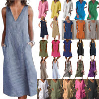 Women Cotton Linen Summer Beach Kaftan Baggy Casual Pocket Tunic Dress Long Top