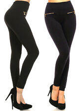 Thick Black Fleece Warm Leggings w/ Zipper