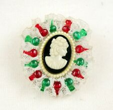 Multi Colored Vintage Cameo Plastic Lace Brooch Pin