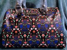 Loungefly Sugar Skull  Purse Barrel Bag, Black & Blue Patterns with Floral,  New