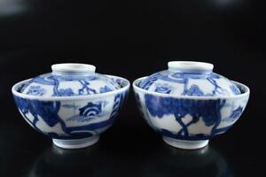 #4528: Japanese Old Imari-ware Blue&White Landscape Poetry LID BOWL 2pcs
