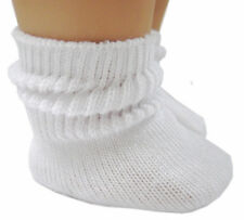 """For 18"""" American Girl Doll Clothes 2 Pr White Cotton Scrunchy Socks Accessories"""