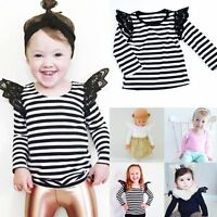 Toddler Kids Baby Girl Cotton Lace Casual Long Sleeve T-shirt Top Blouse Clothes