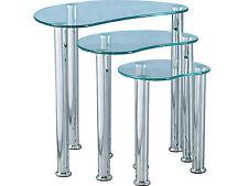 Modern Cara Nest of Tables (3) - Clear Glass Top & Chrome Legs
