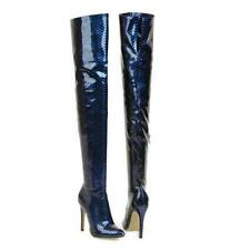 Women Thigh High Boots Pointed Toe High Stiletto Heels Snakeskin Boot Party Shoe