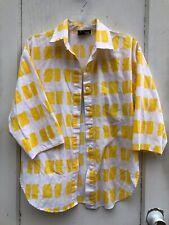 Vintage Yellow Print Cotton Blouse