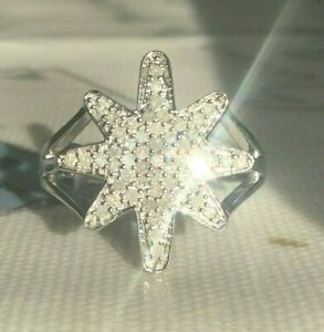 *STUNNING* .925 0.33CT DIAMOND ROUNDS STAR CLUSTER RING