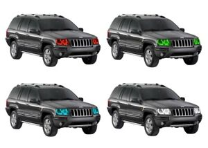 for Jeep Grand Cherokee 99-04 RGB Multi Color LED Halo kit for Headlights