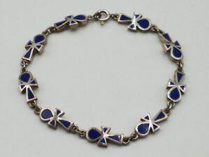 """925 Silver Blue Enamel Ankh Link 7.5"""" Bracelet TT645"""