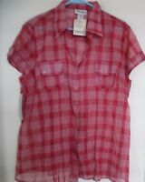 MILLENIUM WOMENS PLAID SEMI SHEER TOP BLOUSE SHIRT Sz 2X
