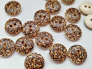 """10 Leopard Print Sewing Buttons 15mm (5/8"""") Wood Animal Fur Print Buttons"""