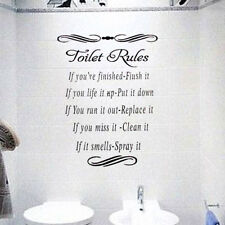 Washroom Toilet Rules Quote Wall Stickers Bathroom Removable Decals Home Décor
