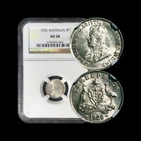 1922(m) Australia Threepence (Silver) - NGC AU58 (Choice) DDR - Top 10