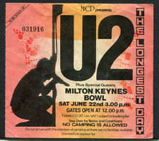 Original 1985 U2 Concert Ticket Stub Milton Keynes Bowl UK Unforgettable Fire