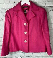 LAUREN RALPH LAUREN Womens' Hot Pink 100% Linen Blazer Jacket Size 6