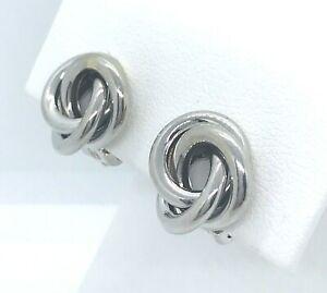 14k White Gold Triple Love Knot Omega Clip Earrings