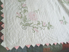 Gorgeous Vtg Pink Roses/Rosebuds Counted Cross Stitched Quilt-Pink & White-96x83