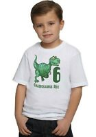 Dinosaur REX Dino Boys Personalized Birthday T Shirt TEE Custom NAME AGE Gift
