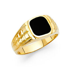 Men 14k Yellow Real Gold Channel Round Vintage Onyx Wedding Engagement Ring Band
