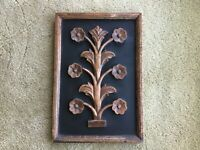 PIER 1 ONE BROWN & BLACK FLORAL WOOD HANGING WALL ART PICTURE PLAQUE HOME DECOR