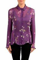 Antonio Berardi Women's 100% Silk Graphic Long Sleeve Top Blouse US L IT 44