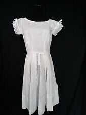 50s VINTAGE WHITE COTTON LOLITA DRESS WITH EYELET, PLEATS & BOWS by TOPSY