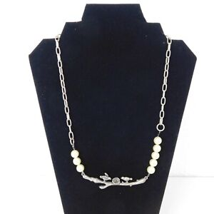 Handmade Birds Nest Branch Statement Necklace Antique Silver Look Faux Pearls
