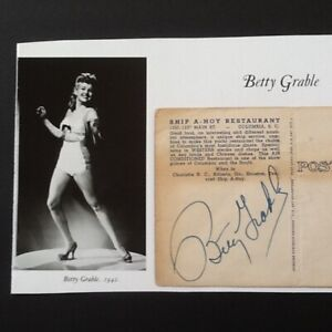 Betty Grable SIGNED Postcard w Photo WWII PinUp Blonde Actress Singer Legs