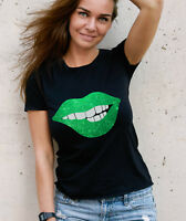 Ladies Black fit T-shirt with Green Glitter Lips. Amazing!
