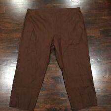 J. Jill Stretch Linen Blend Crop Pants Women's XLP Kona Brown Flat Front Pull On