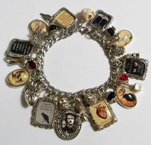 Edgar Allan Poe Charm Bracelet Hand Crafted Glass Dome