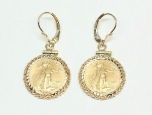U.S. Five Dollar Gold Coin, 14k Gold Dangle Earrings - Dated 2001