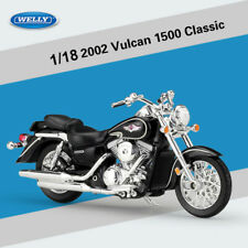 1:18 2002 Kawasaki VULCAN 1500 CLASSIC Black Motorcycle Alloy Model Toy By WELLY